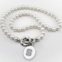 NC State Pearl Necklace with Sterling Silver Charm