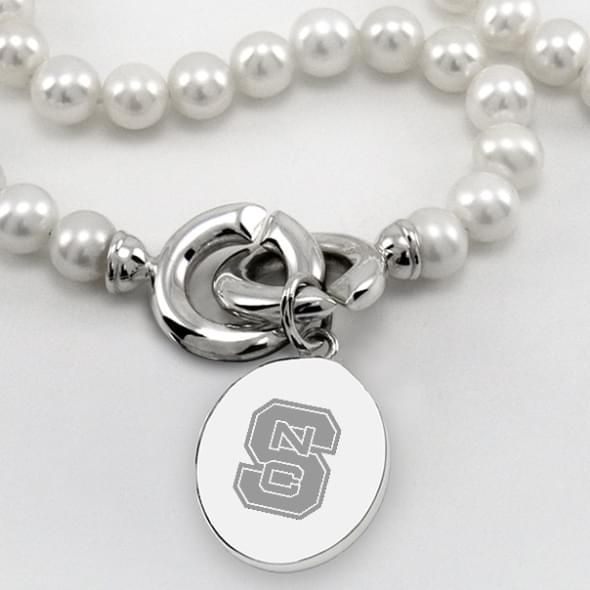 NC State Pearl Necklace with Sterling Silver Charm - Image 2