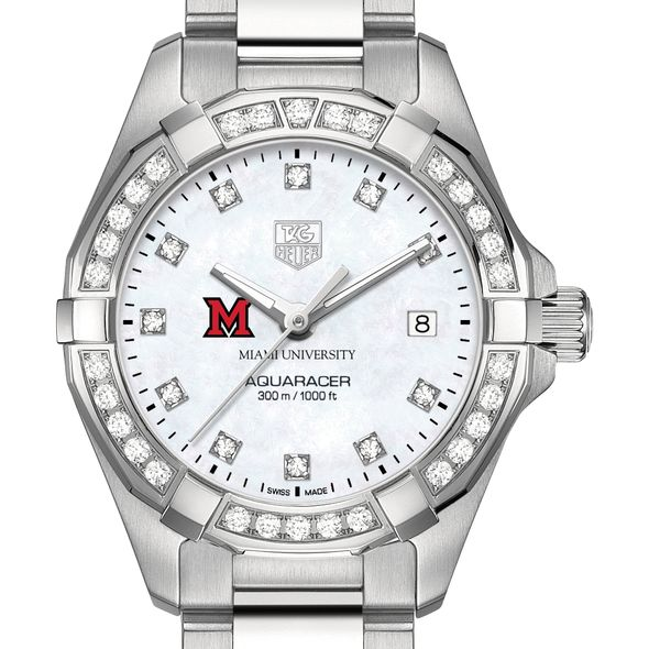 Miami University W's TAG Heuer Steel Aquaracer with MOP Dia Dial & Bezel