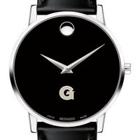 Georgetown University Men's Movado Museum with Leather Strap