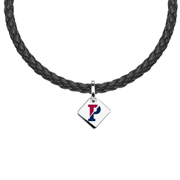 Penn Leather Necklace with Sterling Silver Tag - Image 1