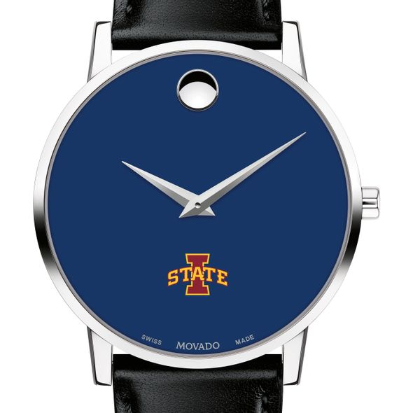 Iowa State University Men's Movado Museum with Blue Dial & Leather Strap