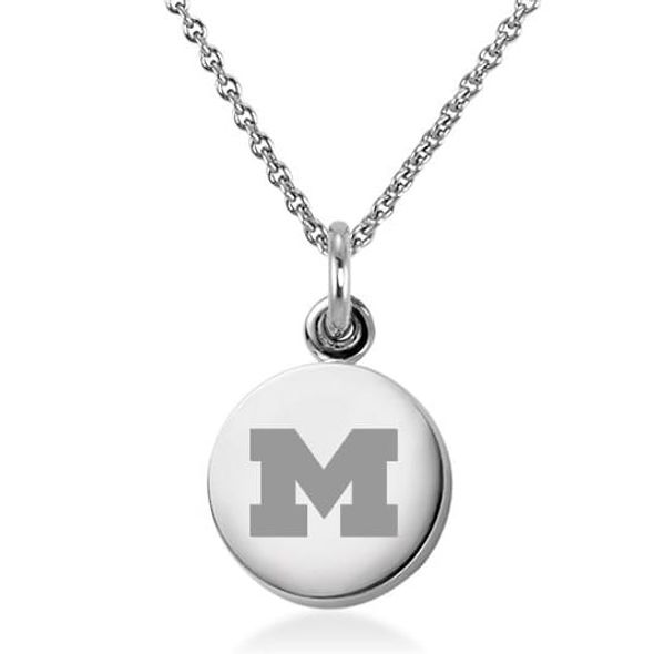 University of Michigan Necklace with Charm in Sterling Silver
