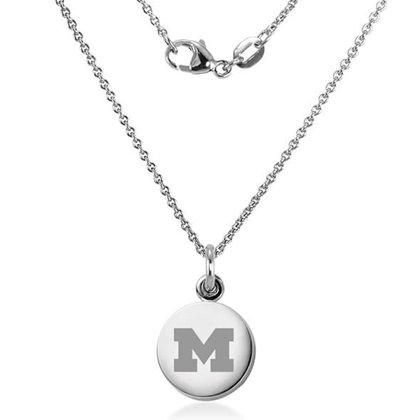 University of Michigan Necklace with Charm in Sterling Silver - Image 2