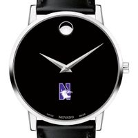 Northwestern University Men's Movado Museum with Leather Strap