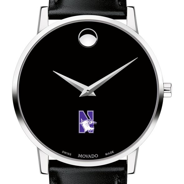 Northwestern Men's Movado Museum with Leather Strap - Image 1