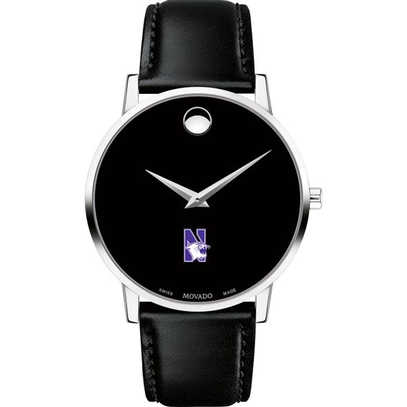 Northwestern Men's Movado Museum with Leather Strap - Image 2