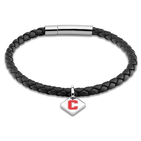 Cornell Leather Bracelet with Sterling Silver Tag - Black