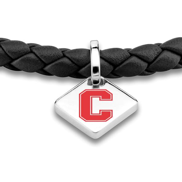 Cornell Leather Bracelet with Sterling Silver Tag - Black - Image 2
