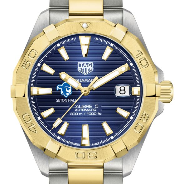 Seton Hall Men's TAG Heuer Automatic Two-Tone Aquaracer with Blue Dial - Image 1
