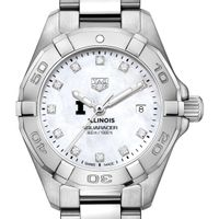 University of Illinois W's TAG Heuer Steel Aquaracer w MOP Dia Dial