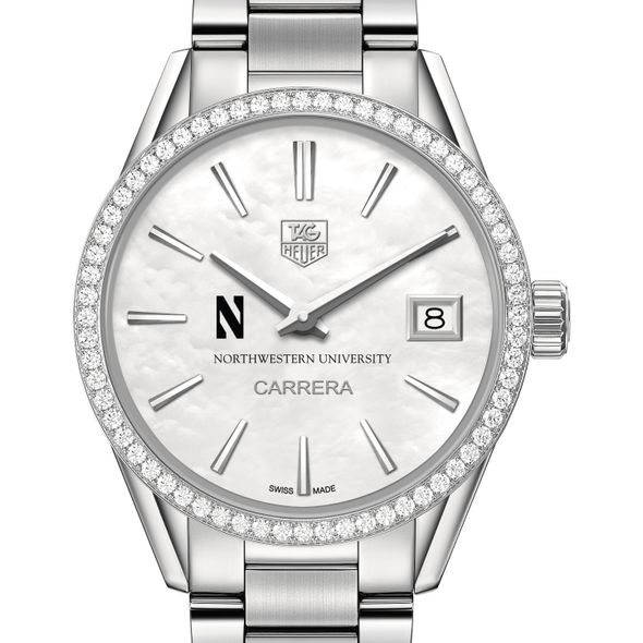 Northwestern University Women's TAG Heuer Steel Carrera with MOP Dial & Diamond Bezel