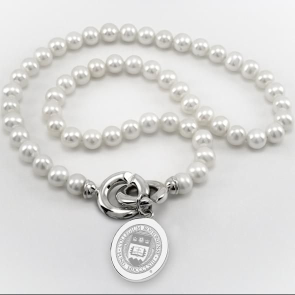 Boston College Pearl Necklace with Sterling Silver Charm