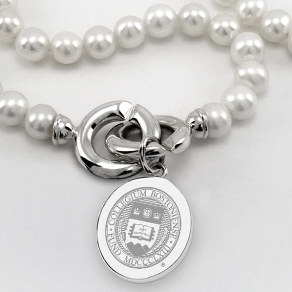 Boston College Pearl Necklace with Sterling Silver Charm - Image 2