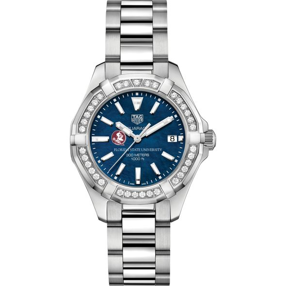 FSU Women's TAG Heuer 35mm Steel Aquaracer with Blue Dial - Image 2