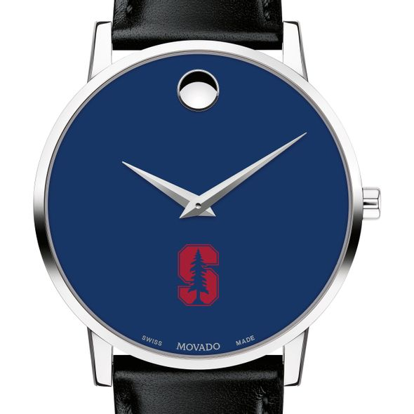 Stanford University Men's Movado Museum with Blue Dial & Leather Strap