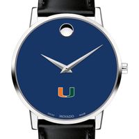 University of Miami Men's Movado Museum with Blue Dial & Leather Strap
