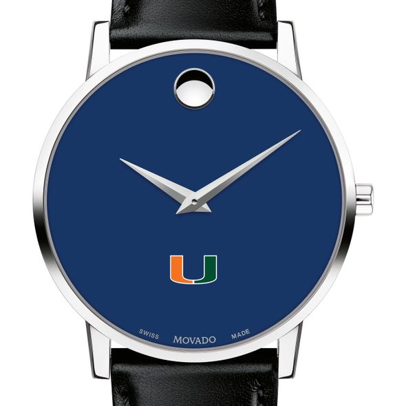 University of Miami Men's Movado Museum with Blue Dial & Leather Strap - Image 1