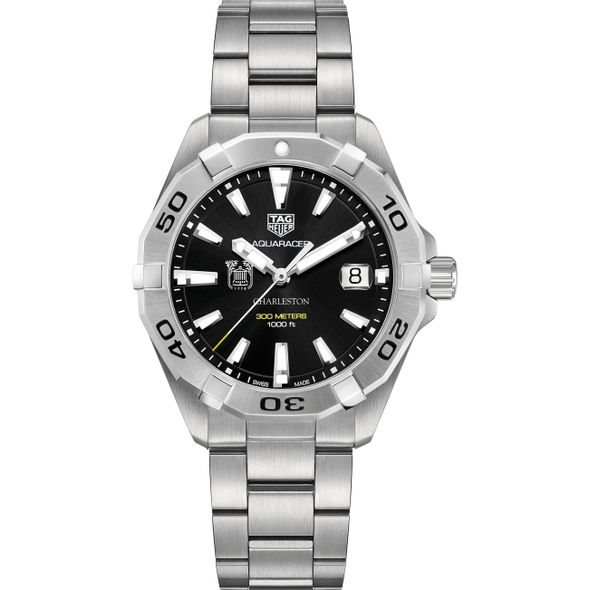 College of Charleston Men's TAG Heuer Steel Aquaracer with Black Dial - Image 2
