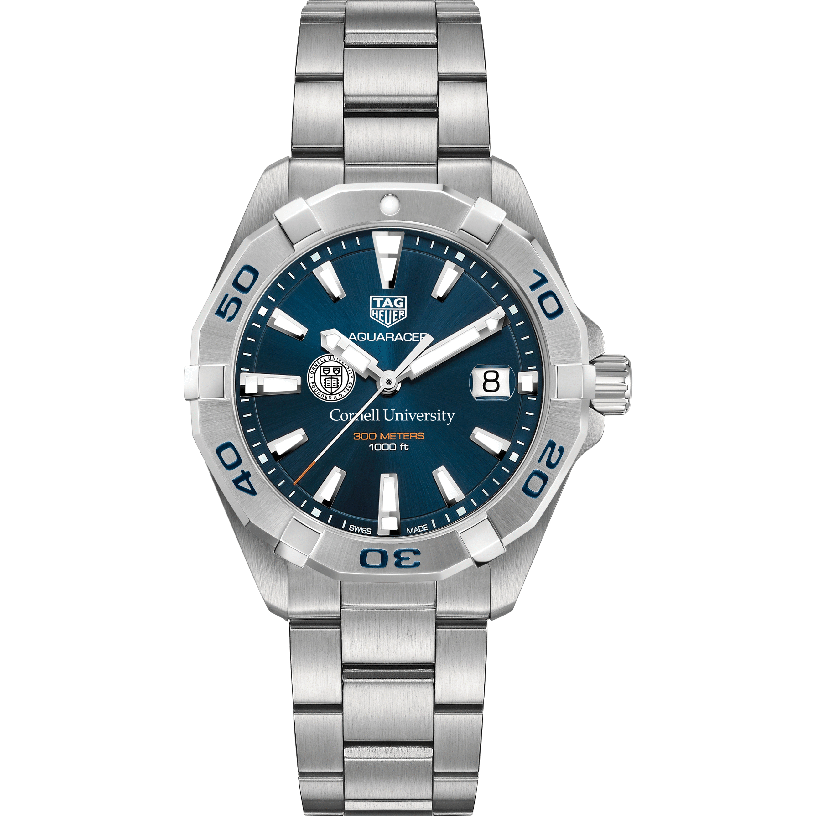 Cornell Men's TAG Heuer Steel Aquaracer with Blue Dial - Image 2