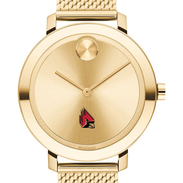 Ball State Women's Movado Bold Gold with Mesh Bracelet - Image 1