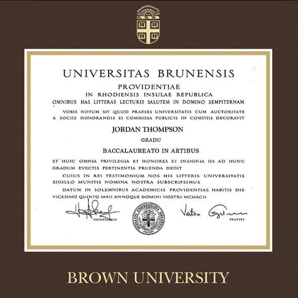 Brown University Diploma Frame, the Fidelitas - Image 2