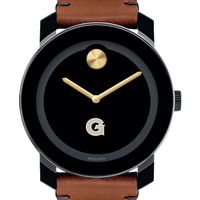 Georgetown University Men's Movado BOLD with Brown Leather Strap