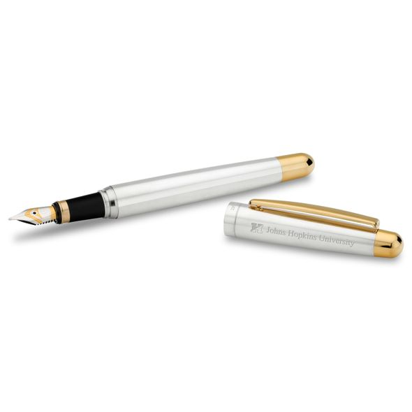 Johns Hopkins University Fountain Pen in Sterling Silver with Gold Trim