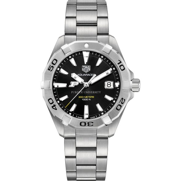 Purdue University Men's TAG Heuer Steel Aquaracer with Black Dial - Image 2