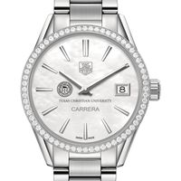 Texas Christian University Women's TAG Heuer Steel Carrera with MOP Dial & Diamond Bezel