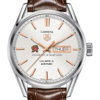 University of Maryland Men's TAG Heuer Day/Date Carrera with Silver Dial & Strap