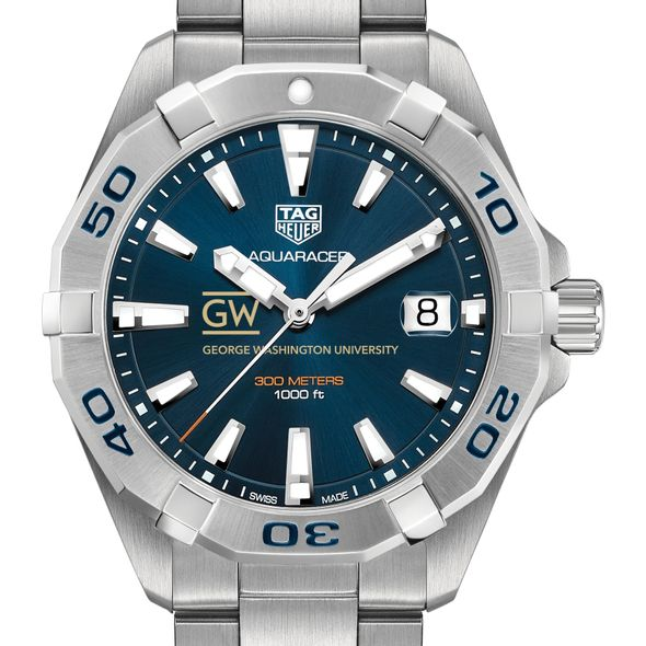 George Washington University Men's TAG Heuer Steel Aquaracer with Blue Dial