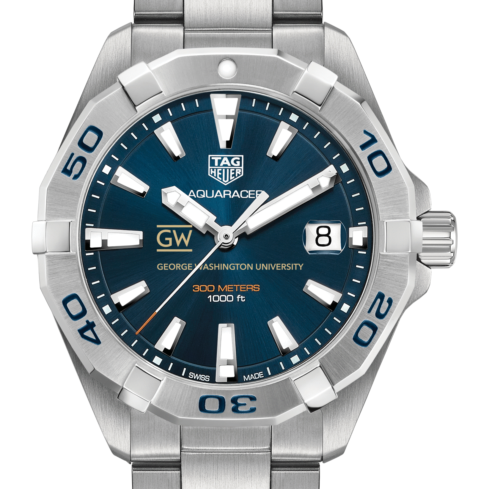 George Washington Men's TAG Heuer Steel Aquaracer with Blue Dial - Image 1