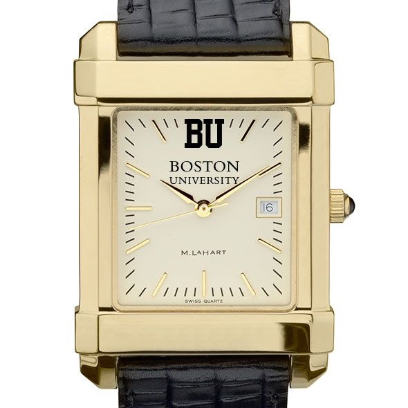 Boston University Men's Gold Quad with Leather Strap