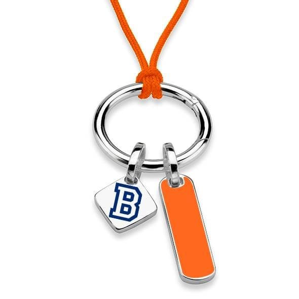 Bucknell University Silk Necklace with Enamel Charm & Sterling Silver Tag