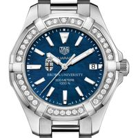 Brown Women's TAG Heuer 35mm Steel Aquaracer with Blue Dial