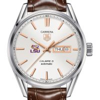 Louisiana State University Men's TAG Heuer Day/Date Carrera with Silver Dial & Strap