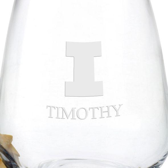 University of Illinois Stemless Wine Glasses - Set of 2 - Image 3
