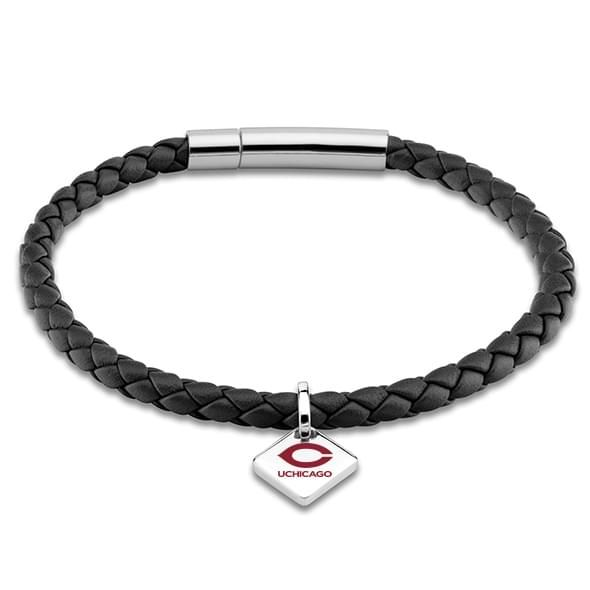 Chicago Leather Bracelet with Sterling Silver Tag - Black