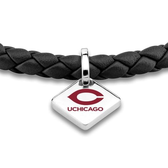 Chicago Leather Bracelet with Sterling Silver Tag - Black - Image 2