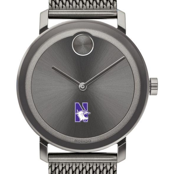 Northwestern University Men's Movado BOLD Gunmetal Grey with Mesh Bracelet