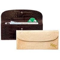 Kappa Kappa Gamma Ladies Travel Clutch / Crocodile Grain