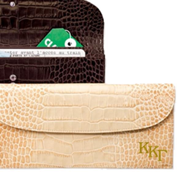 Kappa Kappa Gamma Ladies Travel Clutch / Crocodile Grain - Image 2