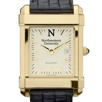 Northwestern Men's Gold Quad Watch with Leather Strap