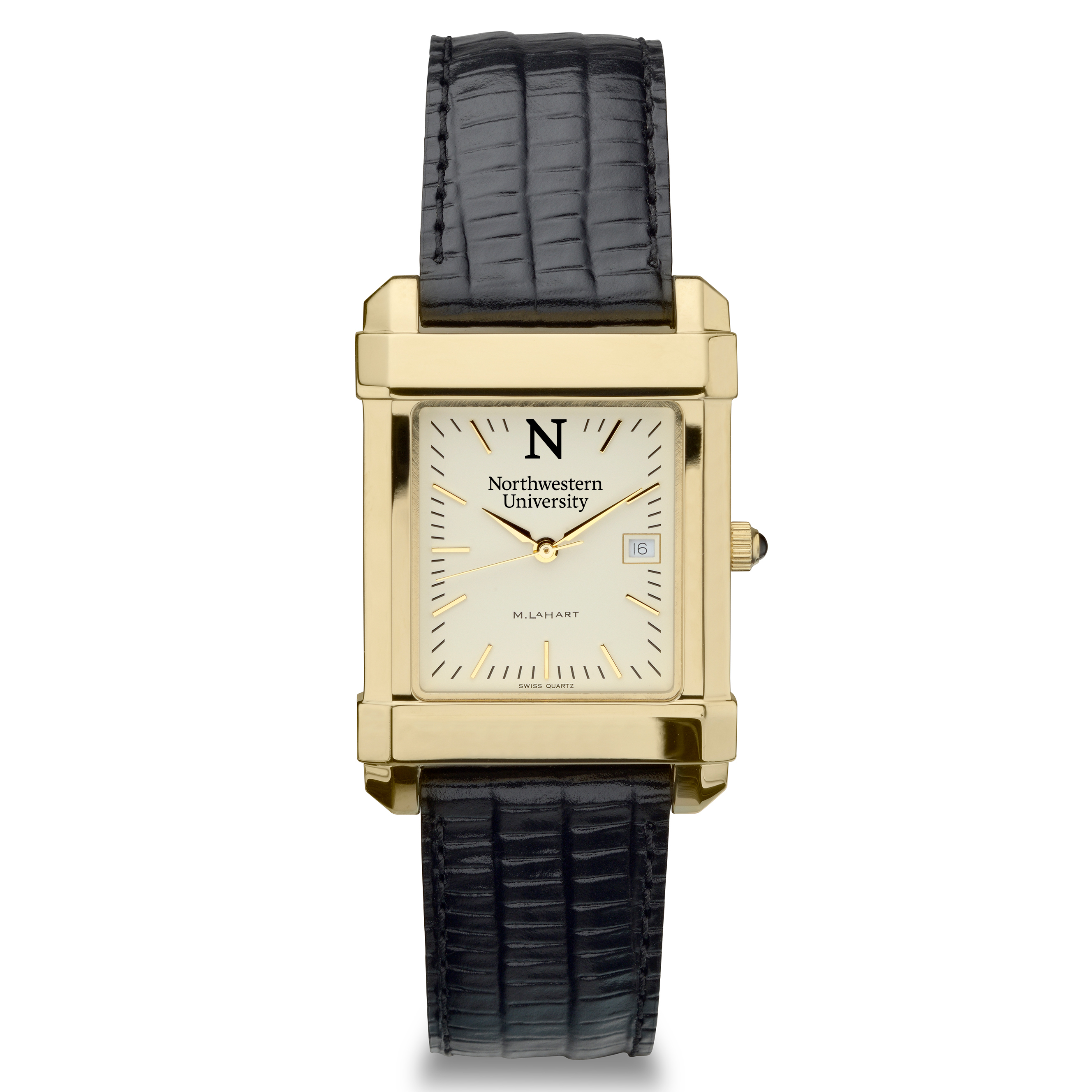 Northwestern Men's Gold Quad Watch with Leather Strap - Image 2