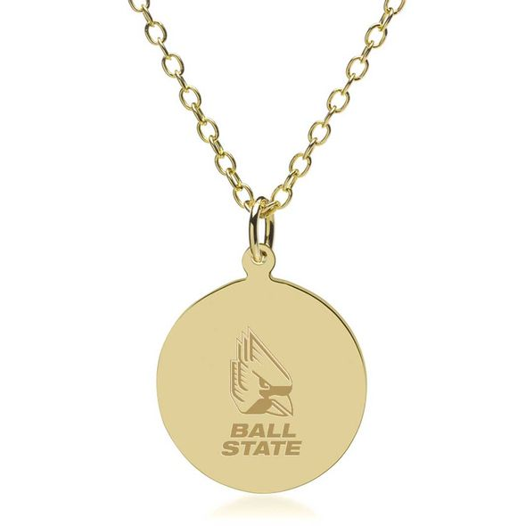Ball State 14K Gold Pendant & Chain - Image 1