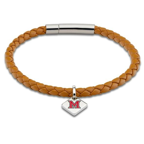 Miami University Leather Bracelet with Sterling Tag - Saddle