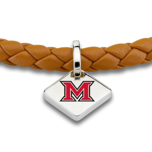 Miami University Leather Bracelet with Sterling Tag - Saddle - Image 2
