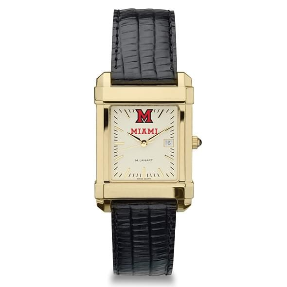 Miami University Men's Gold Quad with Leather Strap - Image 2