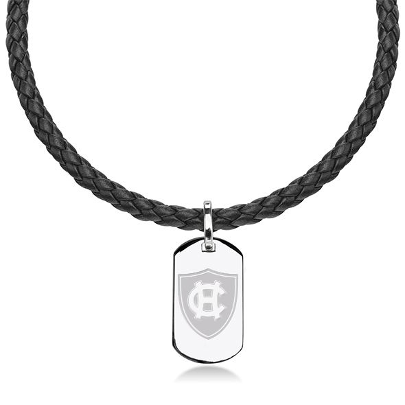 Holy Cross Leather Necklace with Sterling Dog Tag